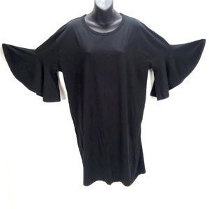 Zara Black Ruffle Bell Sleeve Shift Dress Sz L